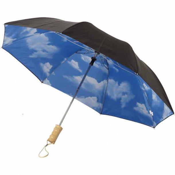 Paraply blue sky - 2 sektioner - sort