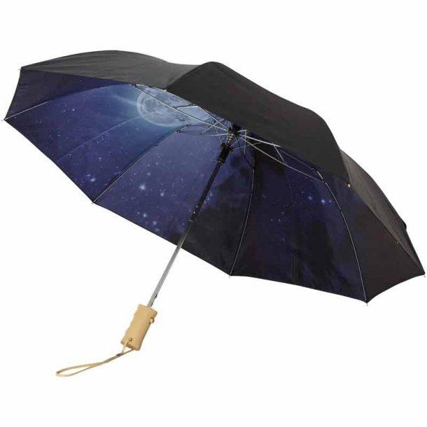 Paraply - klar nattehimmel- 2 sektioner - sort