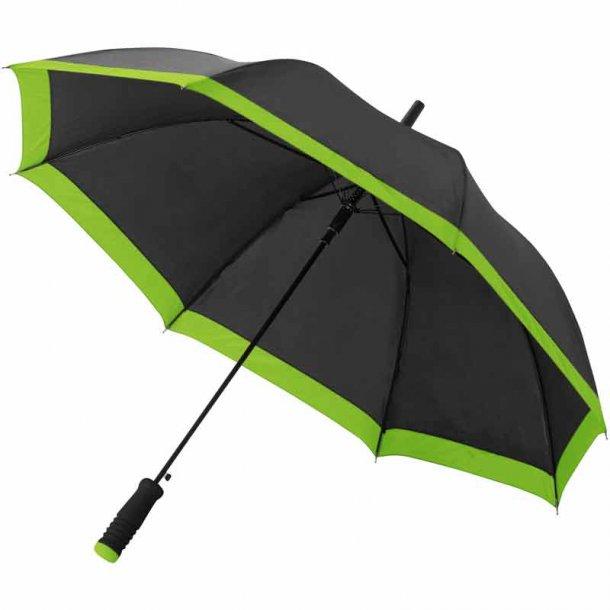 Kris paraply sort m / hvid kant - flere farver