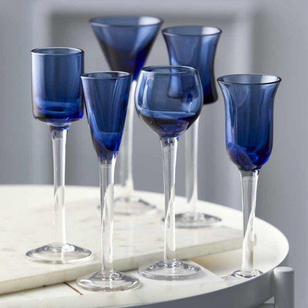 Lyngby  snapseglas på fod blå - 6 stk