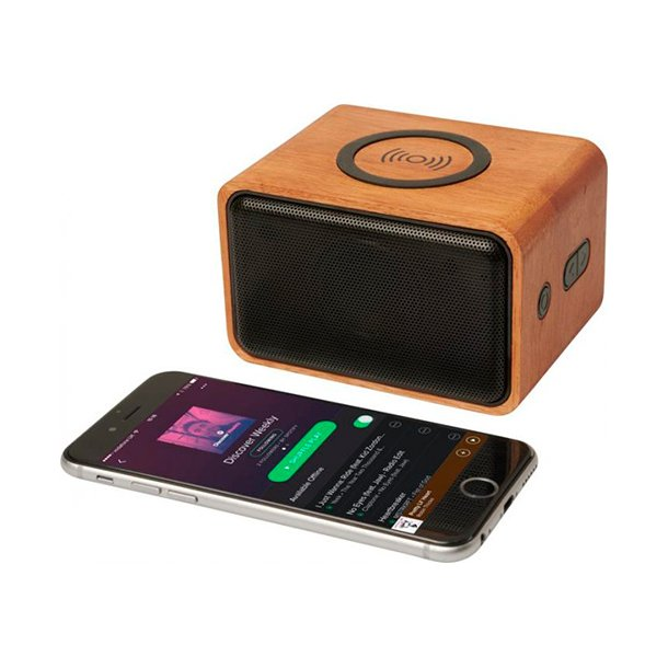 Wooden Bluetooth højtaler med opladningspude