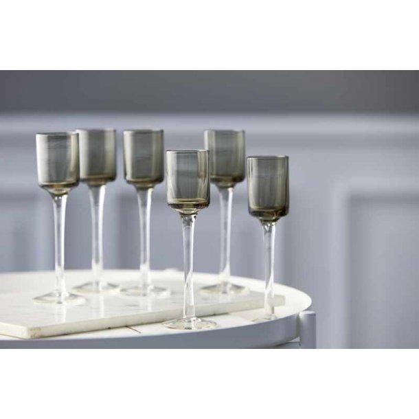 Lyngby  snapseglas på fod grå - 6 stk