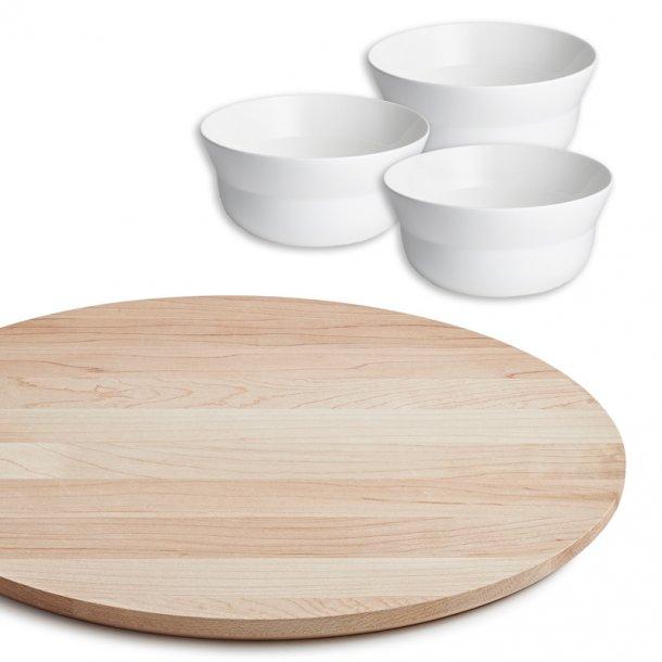 Kâhler Kaolin - serveringsbræt & 3 skåle