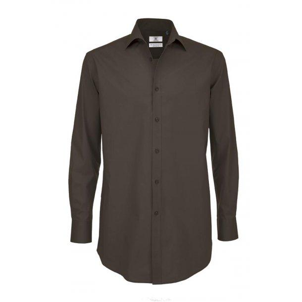 B & C Polplin skjorte med stræk