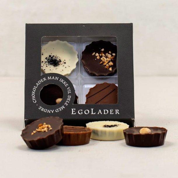 Egolade æske - 4 stk. ass. chokoladetærte