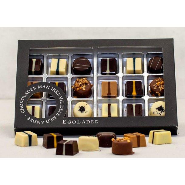 Egolade æske - 18 stk. ass. chokolader