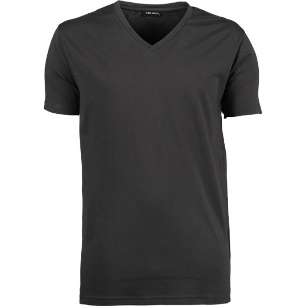 T-Shirt med stretch med V neck