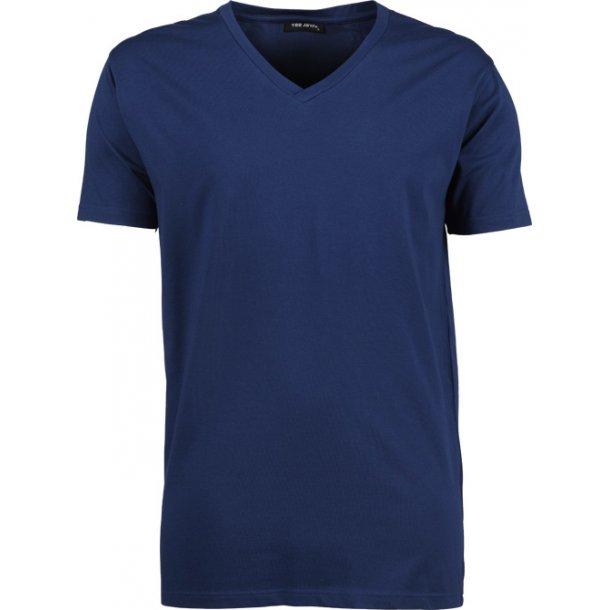 T-Shirt med stretch med V neck