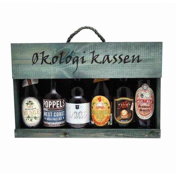 Trækasse m/ økologiske øl - 6 stk.
