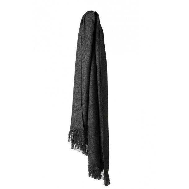 Traveller tørklæde - baby alpaka uld - dark grey / black
