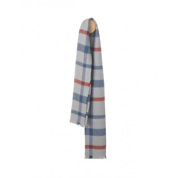 London tørklæde  - grey/blue/rusty red
