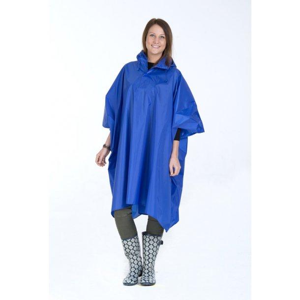 Regnslag / poncho - royal blå - polyester