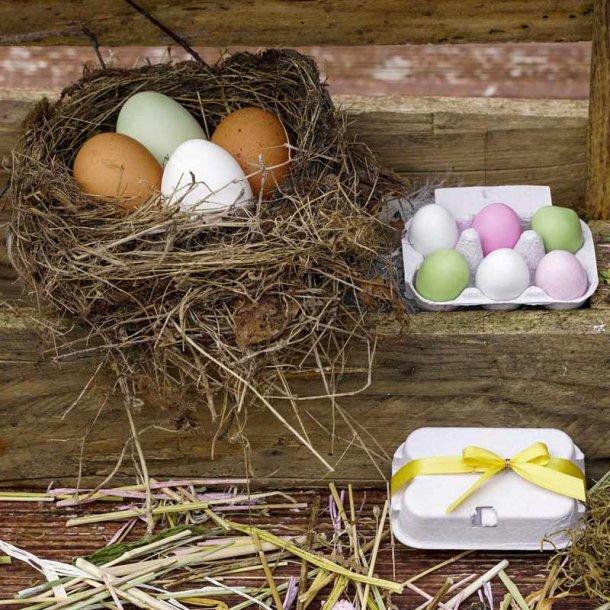 Påskeæg i æggebakke - 6 stk.- marcipanæg pastel