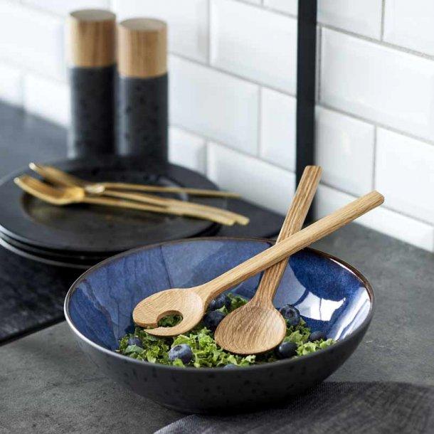BITZ salatskål & salatbestik - sort/mørkeblå