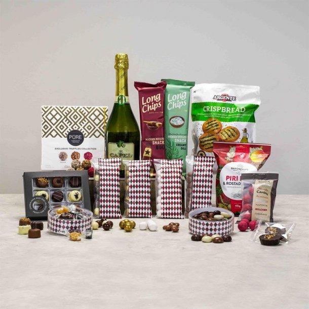 Alkoholfri Gavepakke Lauritz - chokolade, chips & juice
