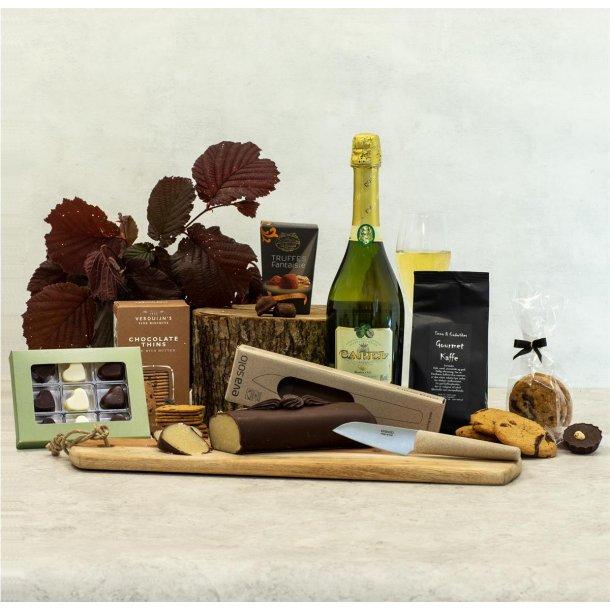 Alkoholfri Gavepakke Violet - chokolade,skærebræt & Eva Solo urtekniv