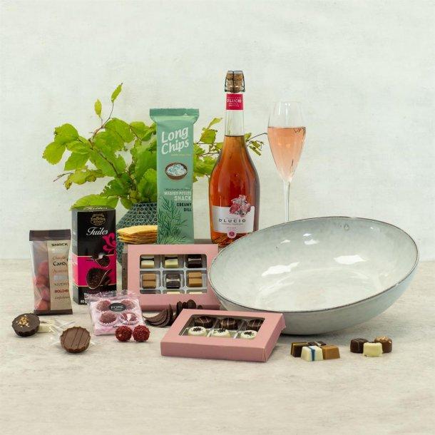 Gavepakke Marie - vin & chokolade, salatskål Broste