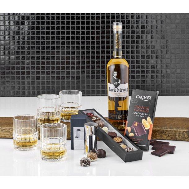 Stor whiskypakke med glas & chokolade