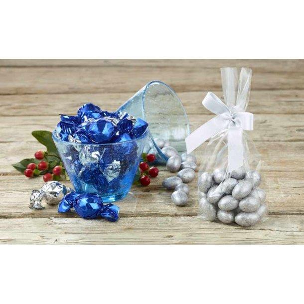 Lyngby glas skål - 2 stk.  med chokolade&mandler - blå