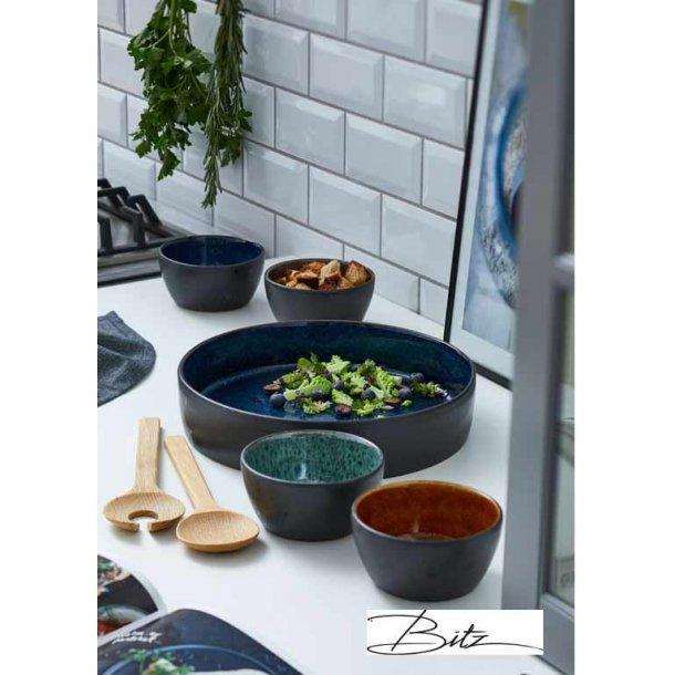 BITZ multifad , 4 skåle & salatbestik - sort/blå