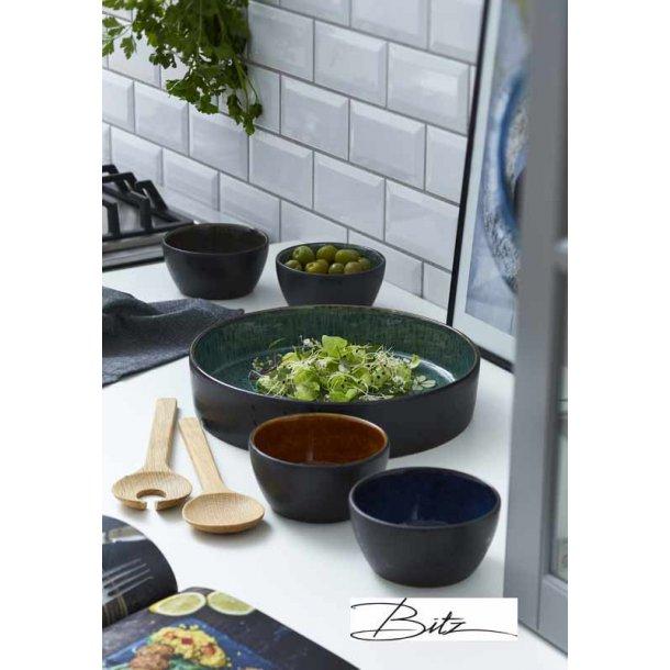 BITZ multifad , 4 skåle & salatbestik - sort/grøn
