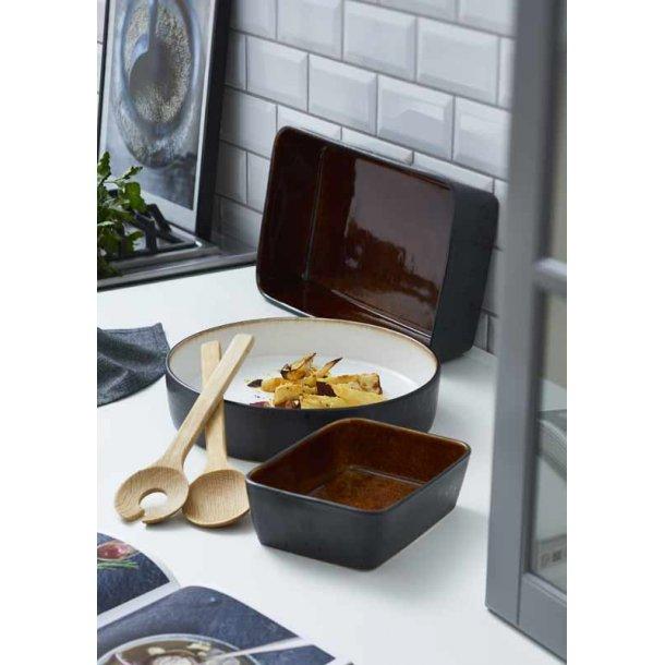 Lasagne & salat skåle / fade - amber /creme - BITZ