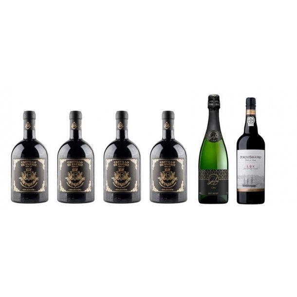 Vinpakke 6 fl. - m/Rødvin - champagne & portvin