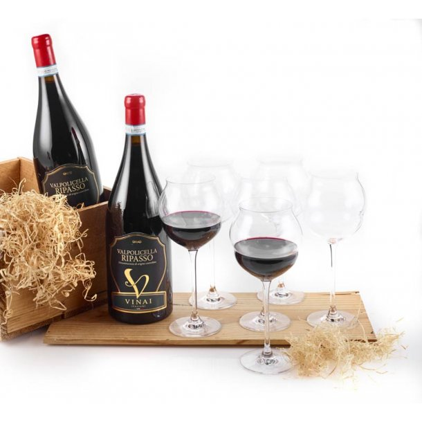 Ripasso Magnum rødvin & 6 glas C&S