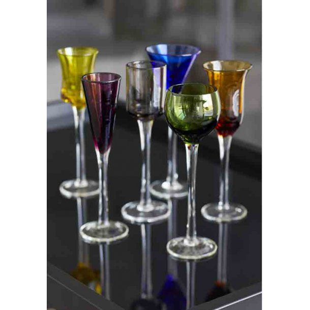 Lyngby Glas - snapseglas på fod - 6 stk. ass.