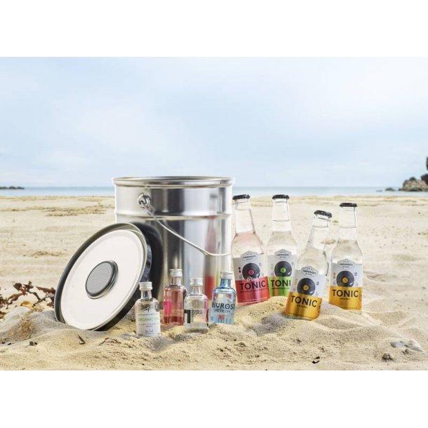 Ginsmagning - metalspand m/bluetooth højtaler - sølv