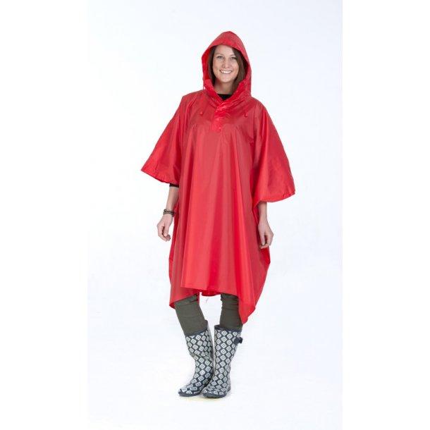 Regnslag / poncho - rød polyester