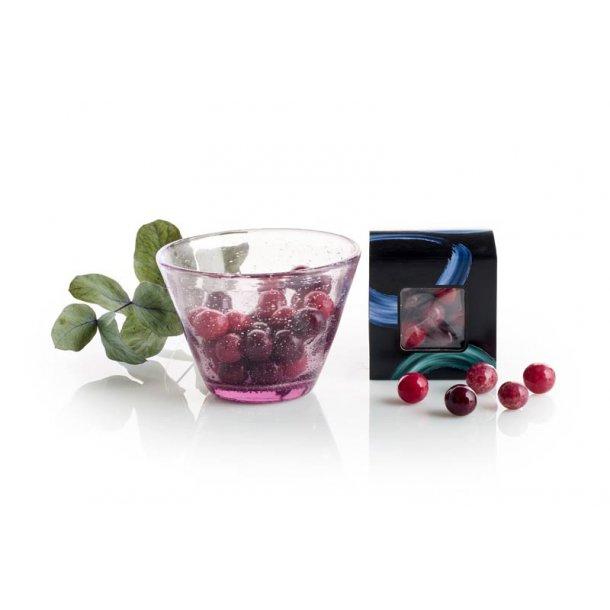 Lyngby glas skål m/chokoladekugler - rød
