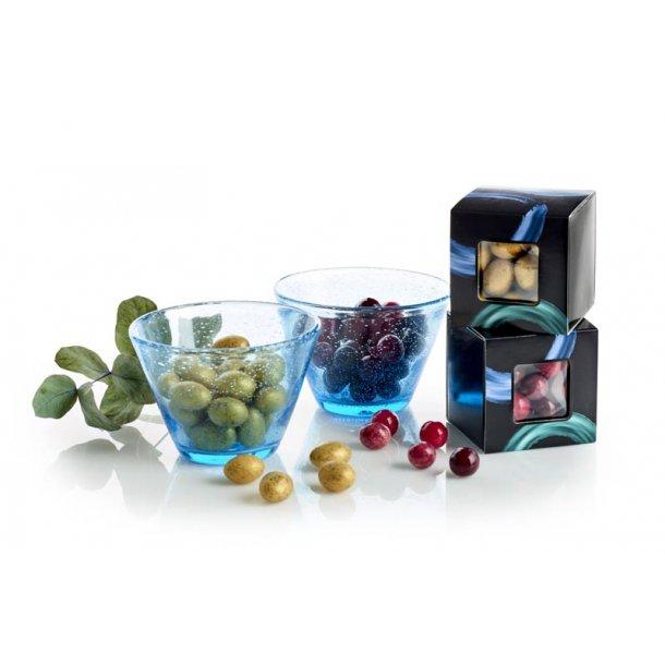 Lyngby glas skål m/chokoladekugler - blå