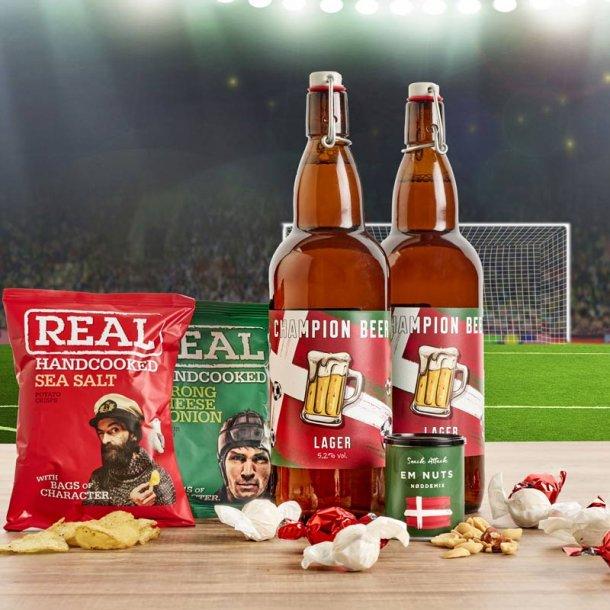 EM 2021  stor egopakke - øl & chips