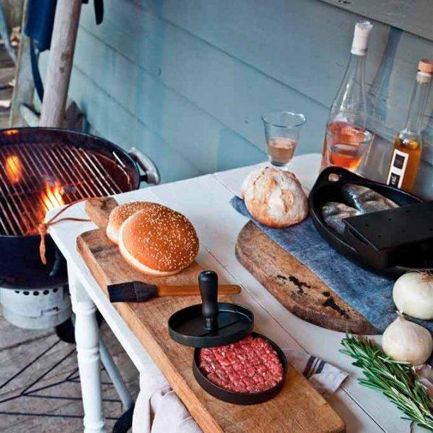 BBQ grillsæt m/ burgerpresser og pensel