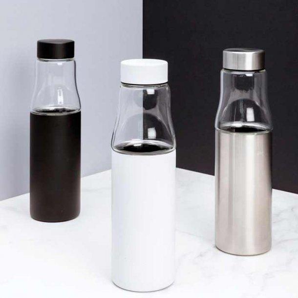 Hybrid drikkeflaske - silikatglas/ aluminium - 500 ml.