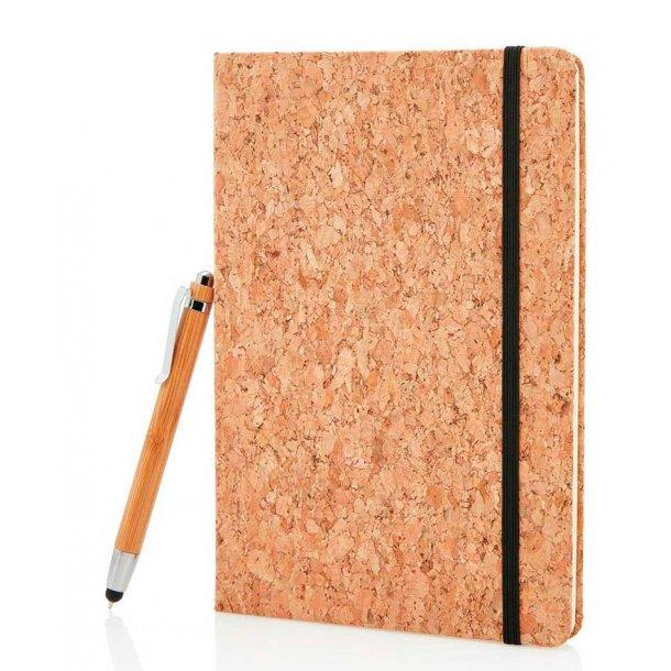 A5 notesbog i kork med bambus stylus pen